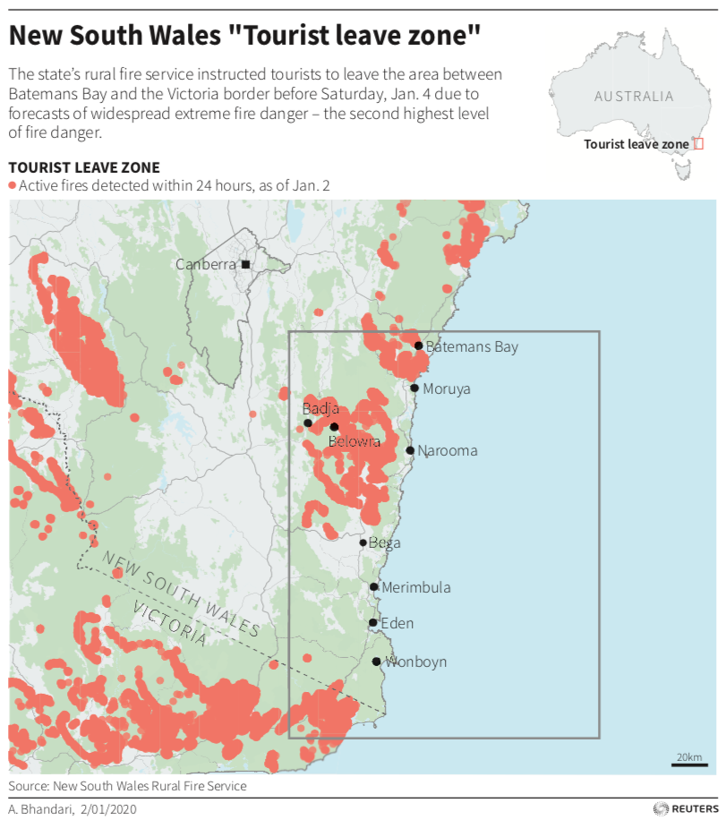 New South Wales evacuation map