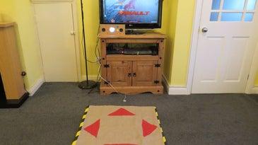 a homemade DIY dance arcade game built with a Raspberry Pi