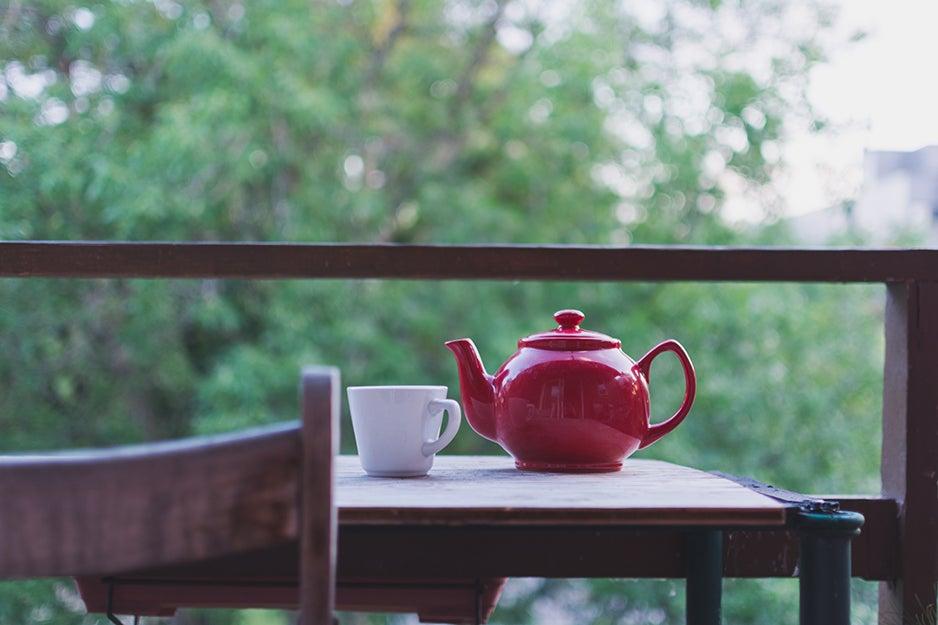 teapot on a table