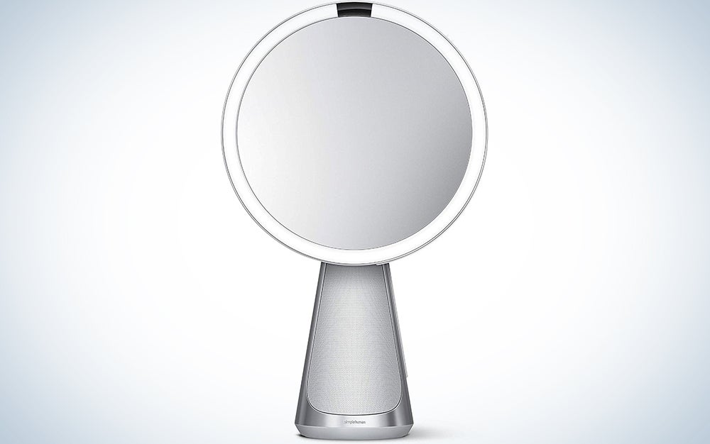 simplehuman Sensor Mirror Hi-Fi with Alexa, Superb Custom-Designed Audio, Extreme Color Accuracy, Touch Brightness Control, 5x Magnification