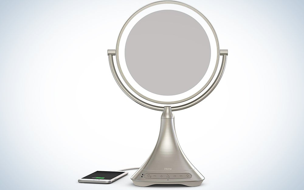 """iHome All-in-One, 7X Magnify, 9"""" 2-Sided LED Bluetooth Audio, Phone Charging Makeup Mirror, Bright LED Light Up Mirror, Natural Light, Double-Sided Vanity Mirror, Hands-Free Speakerphone"""