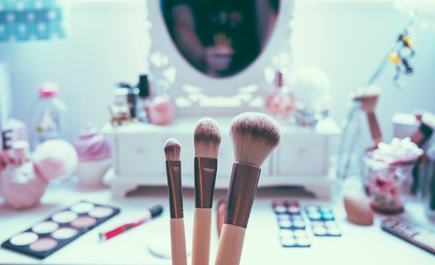 makeup in front of a mirror