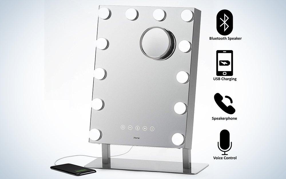 "iHome 7"" x 9"" Reflect ll iCVBT3 Adjustable Vanity Mirror, Makeup Mirror with Bluetooth Audio, Hands-Free Speakerphone, LED Lighting, Siri & Google Support USB Charging, Flat Panel LED Lighting"