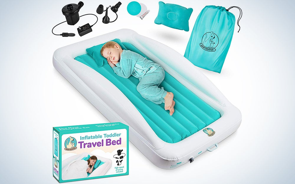 Eltow Inflatable Toddler Air Mattress Bed With Safety Bumper