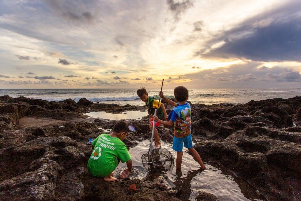 Kids fishing at sea shore