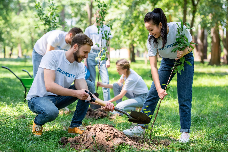 Volunteers working in a park.