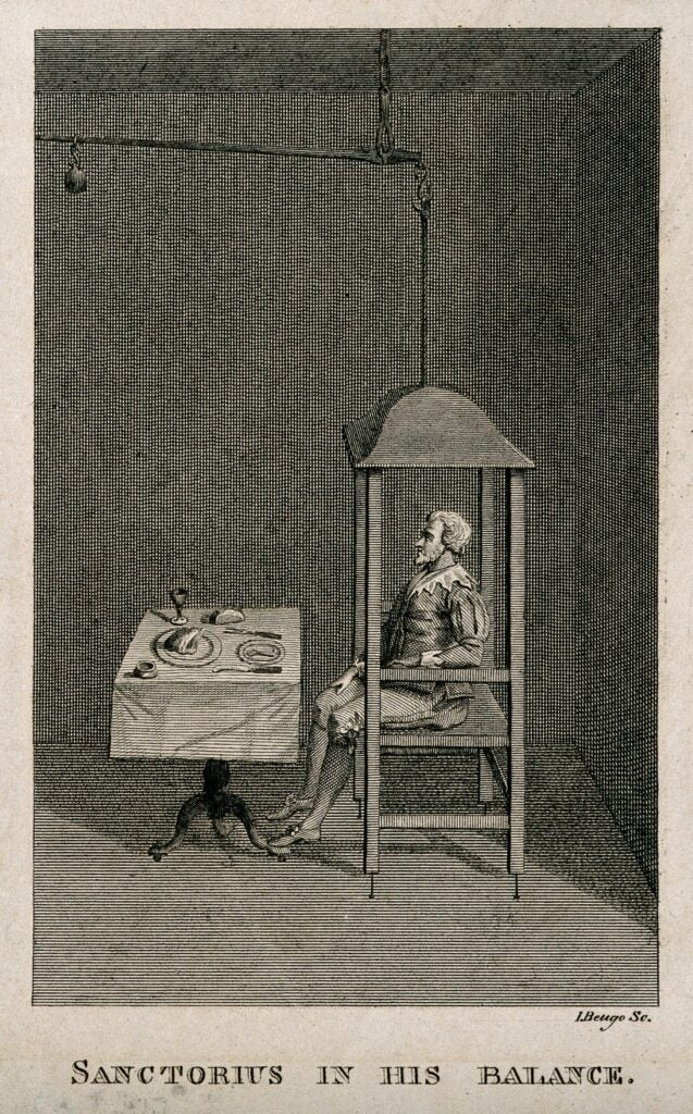 A drawing of a man on a large balancing chair
