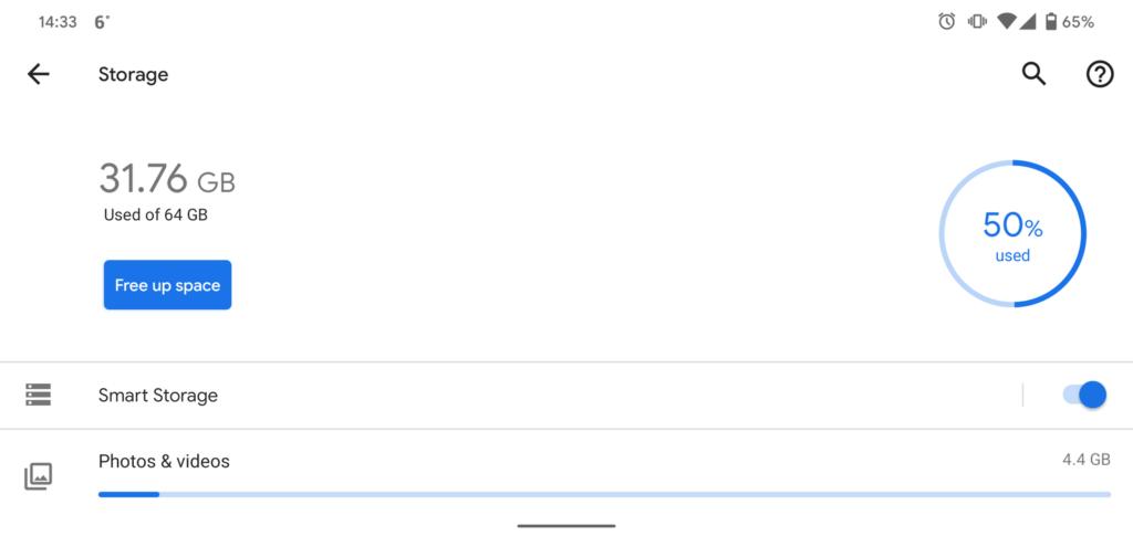Android storage screen screenshot