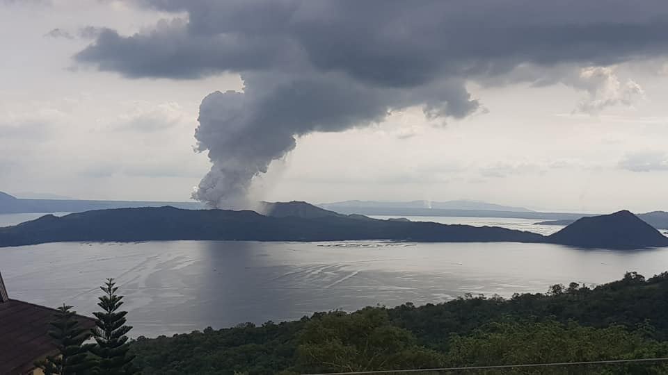 a volcano errupting