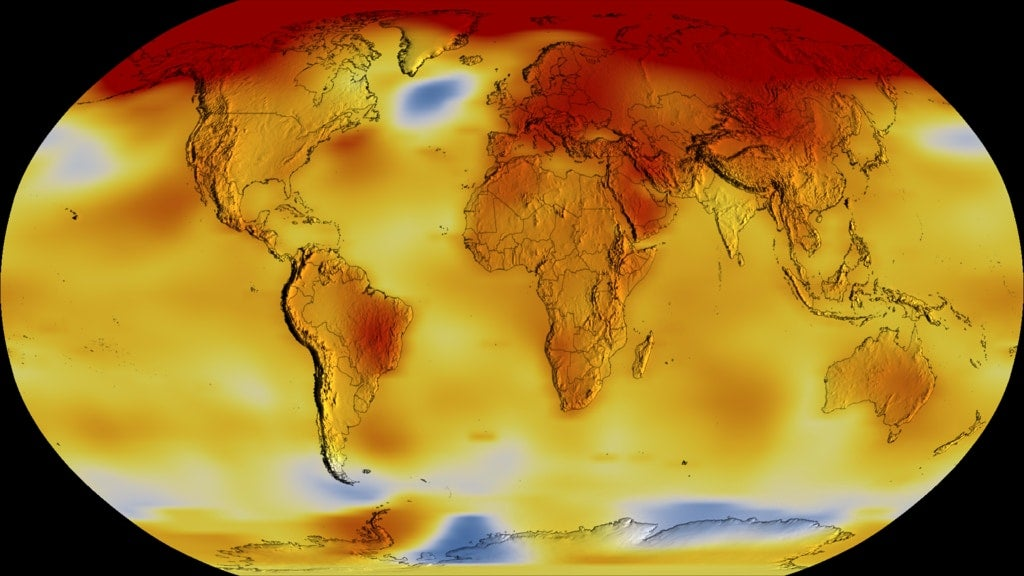 map of the world's temperatures
