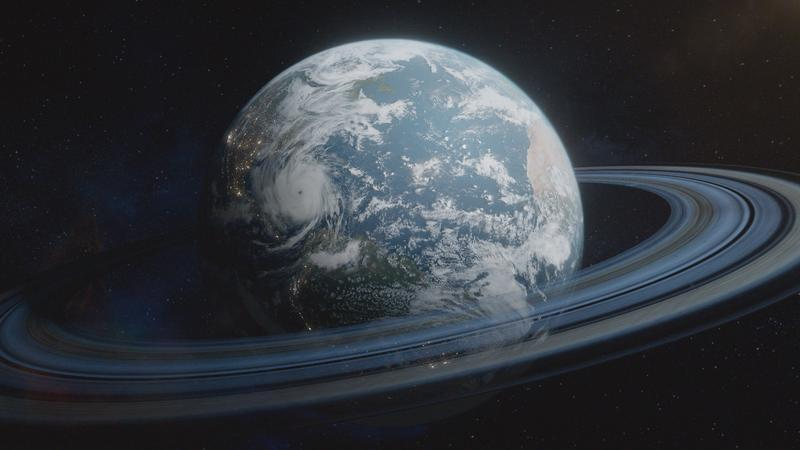 a picture of earth with rings like saturn