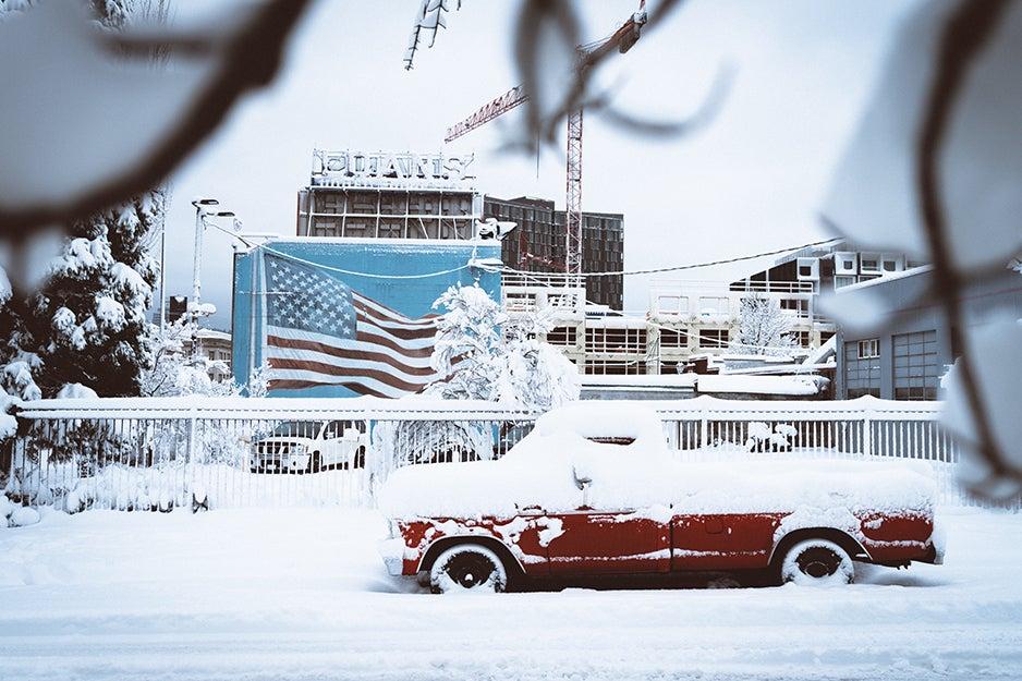 snow on a street