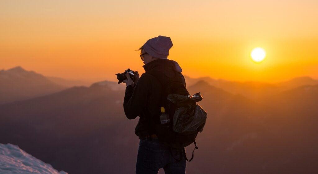 Person looking at camera at sunset