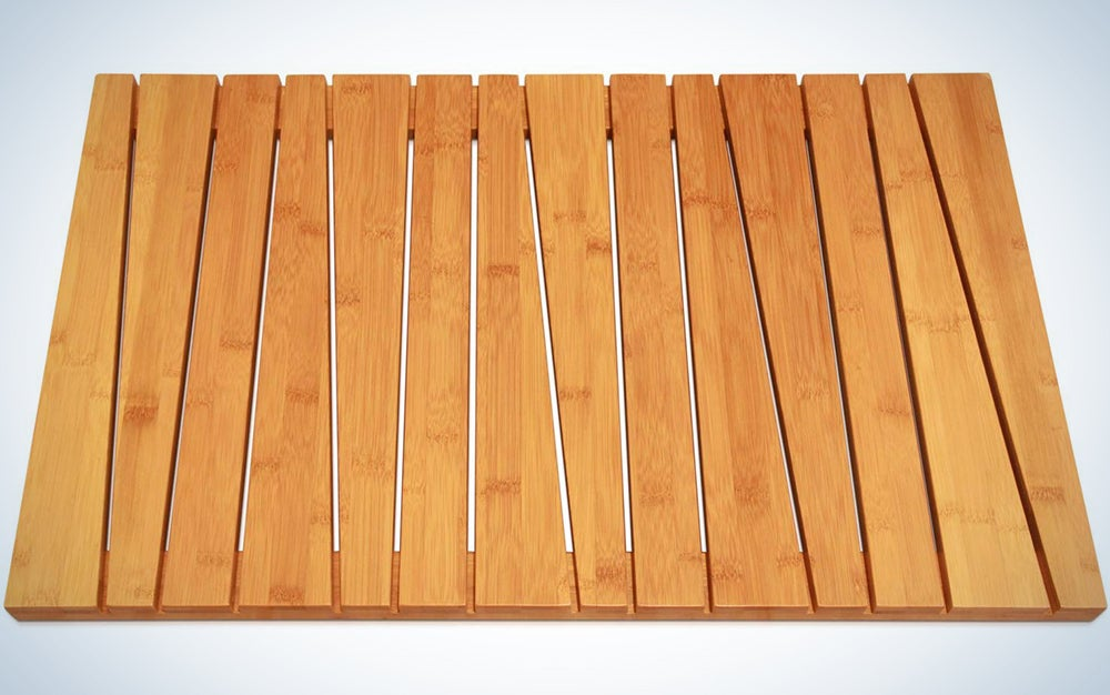 mDesign 100 Percent Bamboo Non-Slip Rectangular Spa Bath Mat