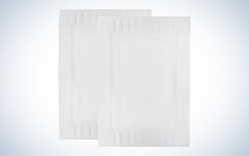 Luxury Bath Mat Floor Towel Set - Absorbent Cotton Hotel Spa Shower/Bathtub Mats