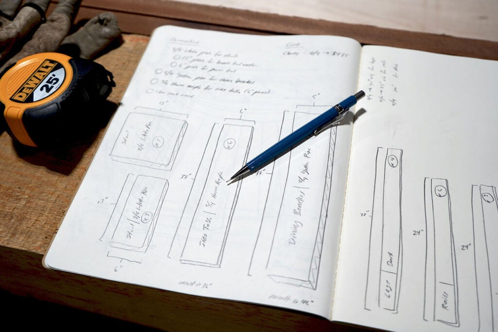a notebook with plans for a three-legged stool made out of wood