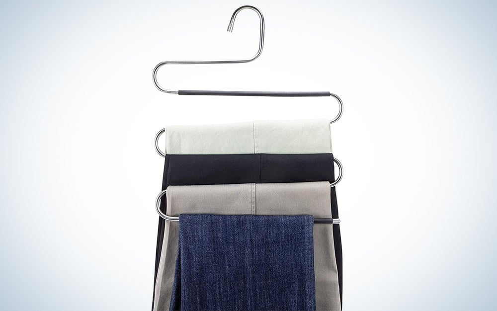 Myfolrena Pants Hangers Non Slip Updated S-Shaped 5 Layers Hangers
