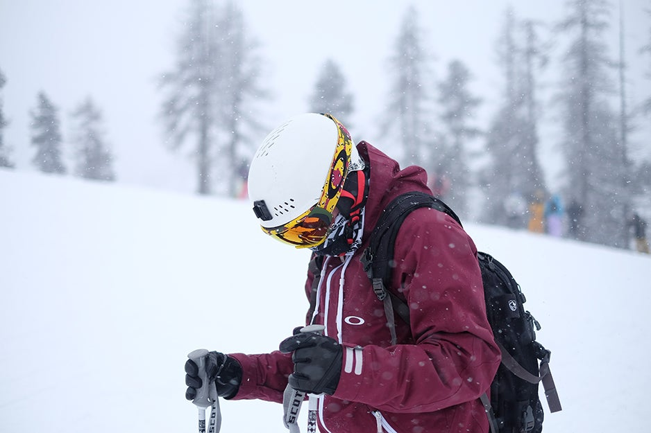 person skiing with helmet