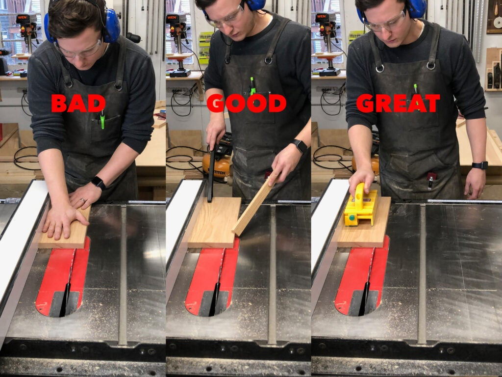 a depiction of the bad, good, and great ways to rip wood on a table saw with your hands, push sticks, and a push block