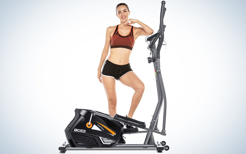 ANCHEER Elliptical Trainers, Magnetic Eliptical Exercise Machines with 3D Virtual APP Control & 10 Level Magnetic Resistance, Max User Weight 390lbs