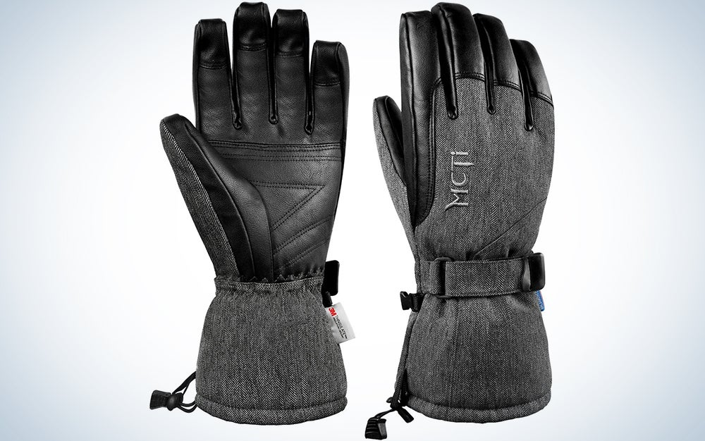 MCTi Ski Gloves Winter Waterproof Snowboard Snow Warm 3M Thinsulate PU Leather Cold Weather Gloves