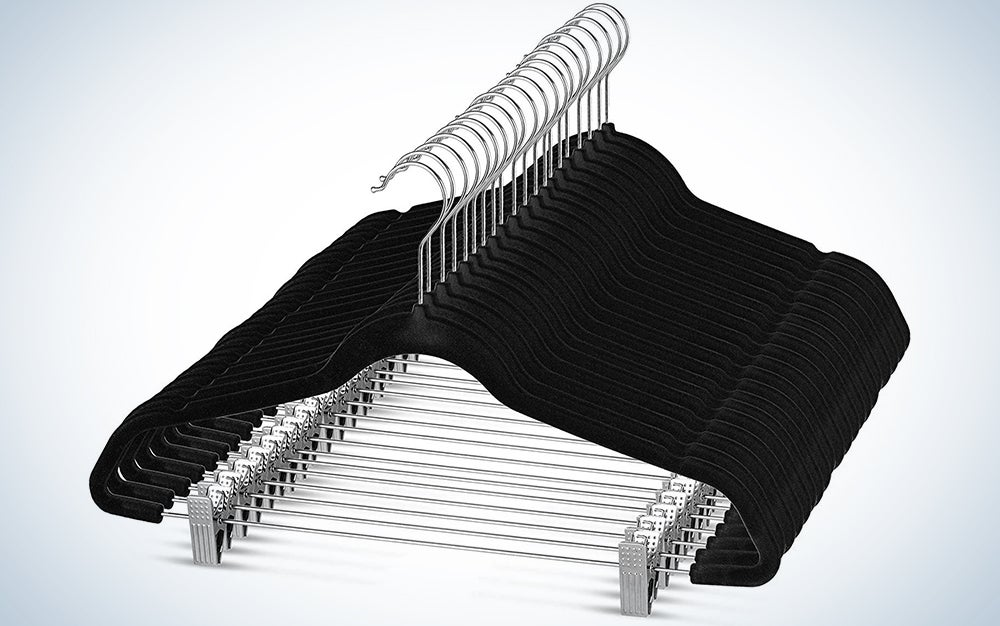 Premium Velvet Skirt Hangers (20 Pack) Non Slip Velvet Pants Hangers with Metal Clips