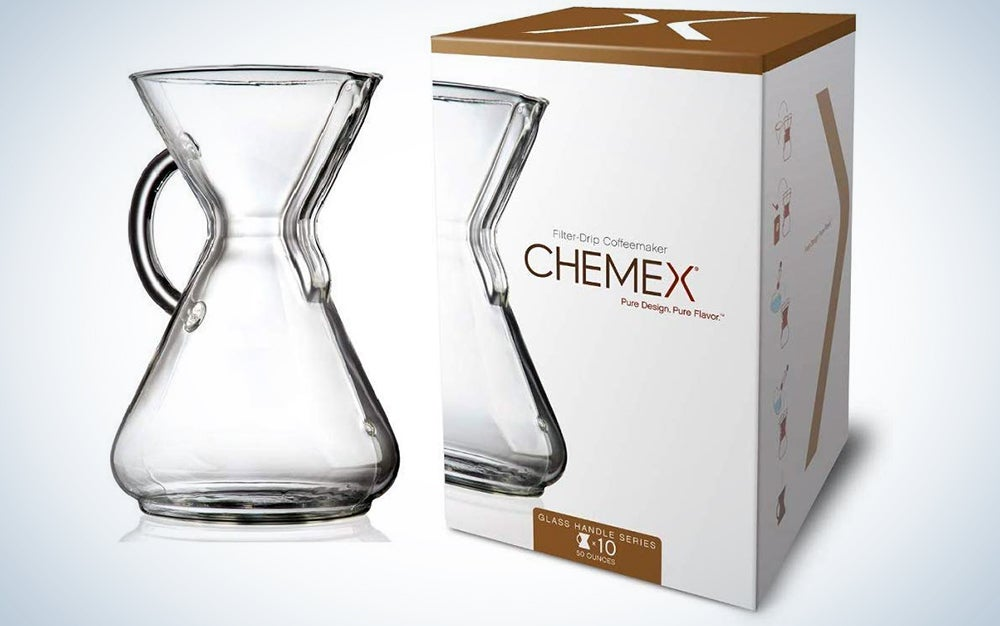 Chemex Glass Handle Pour-over Coffee Maker, 10-Cup