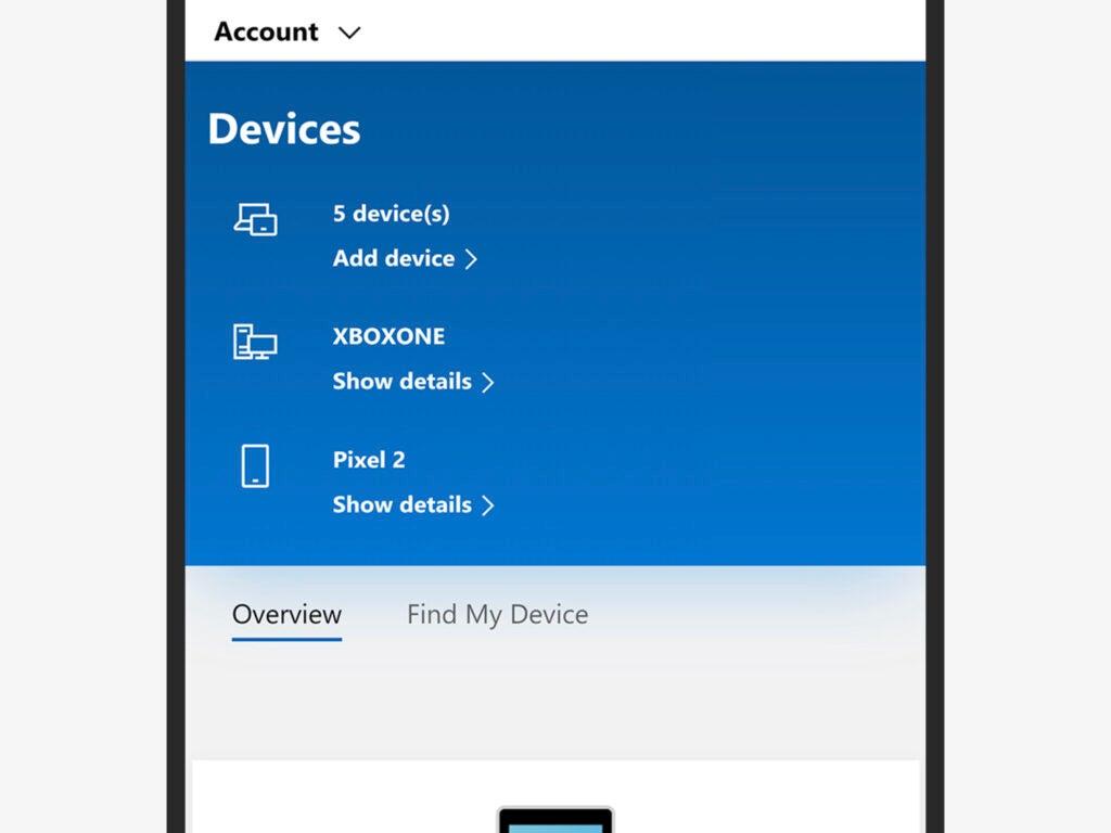 Screenshot of Microsoft account security settings
