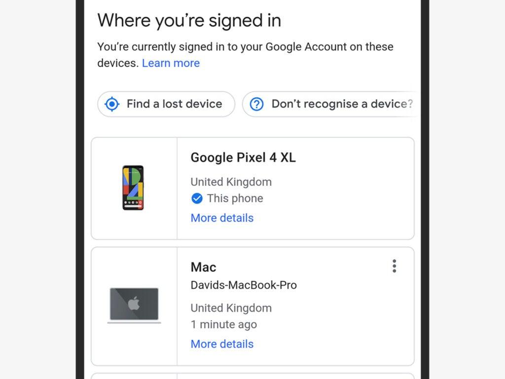 Screenshot of Google account security settings