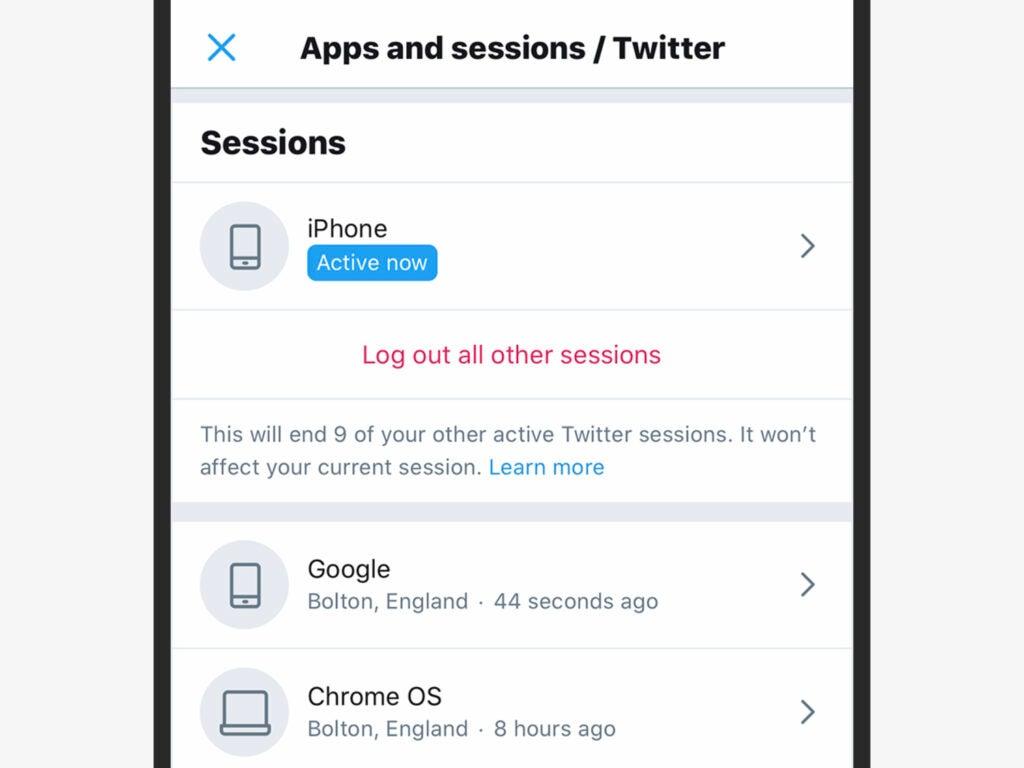 Screenshot of Twitter account security settings