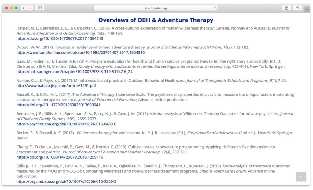 Outdoor Behavioral Health Care Center site