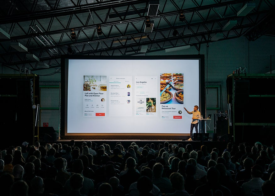 presentation in front of a crowd