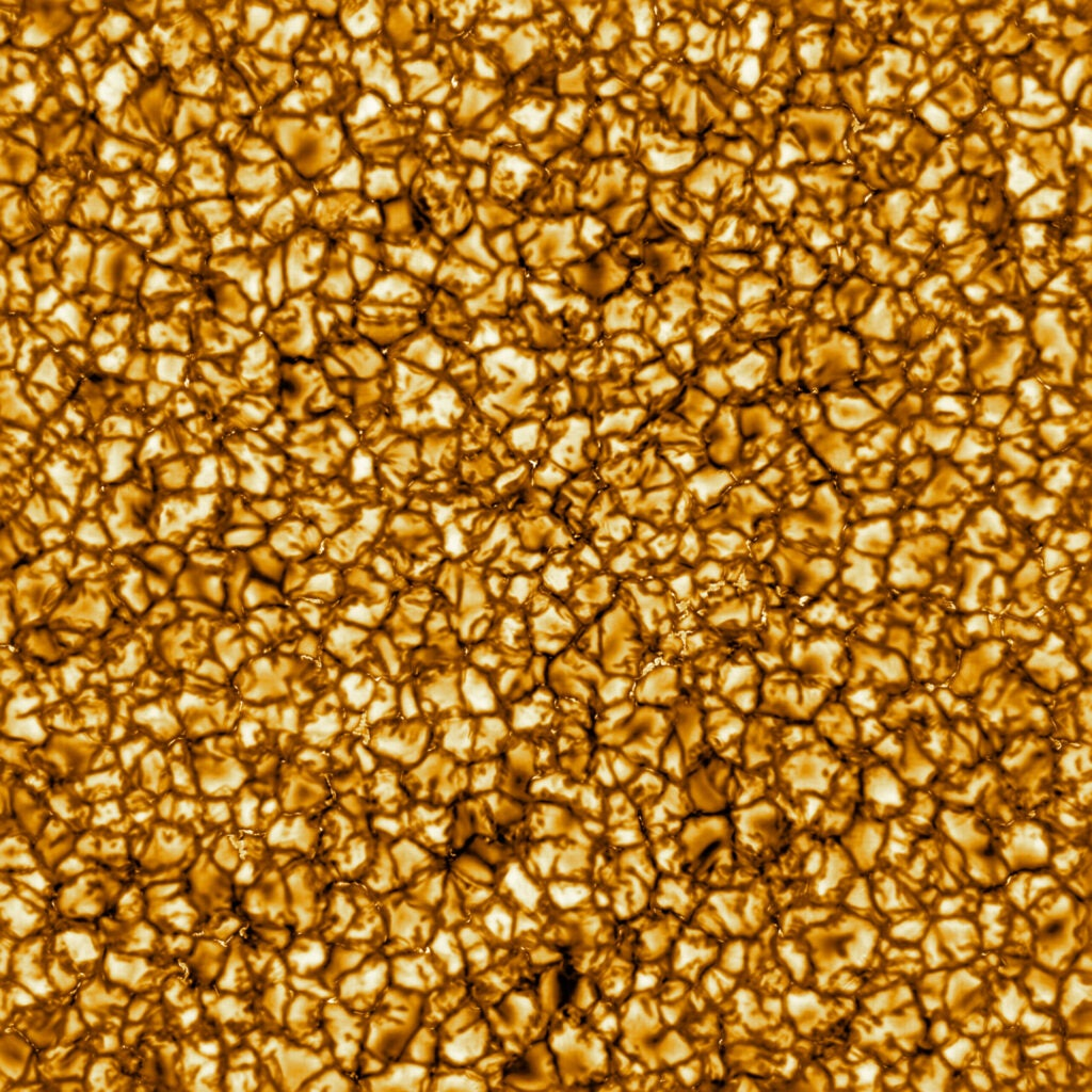 A closeup image of the sun's surface