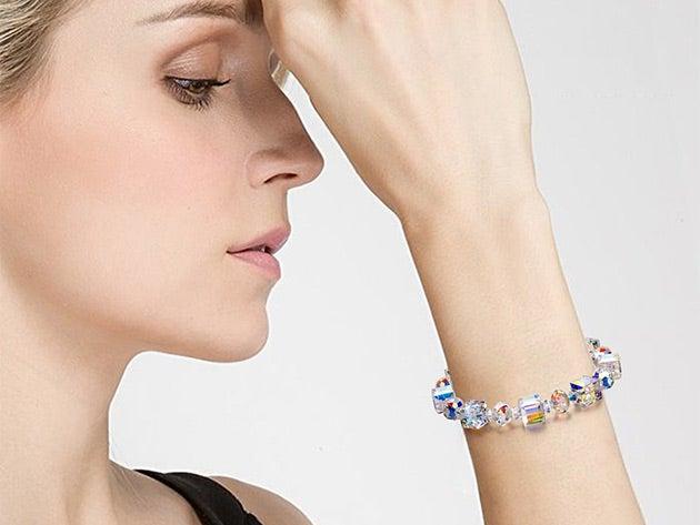 Aurora Borealis Geometric White Gold Plated Bracelet