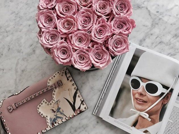 Medium White Box with Light Pink Roses
