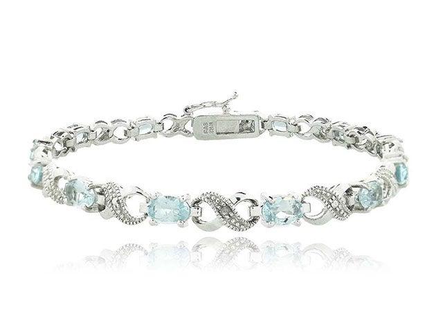 Genuine Sapphire & Diamond Accent Tennis Bracelet