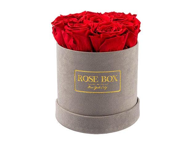 Rose Box™ Velvet Gray Box & Long-Lasting Roses