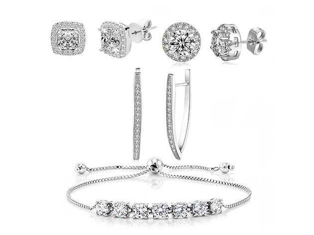 Swarovski Crystal Earrings & Princess Tennis Bracelet Jewelry Set