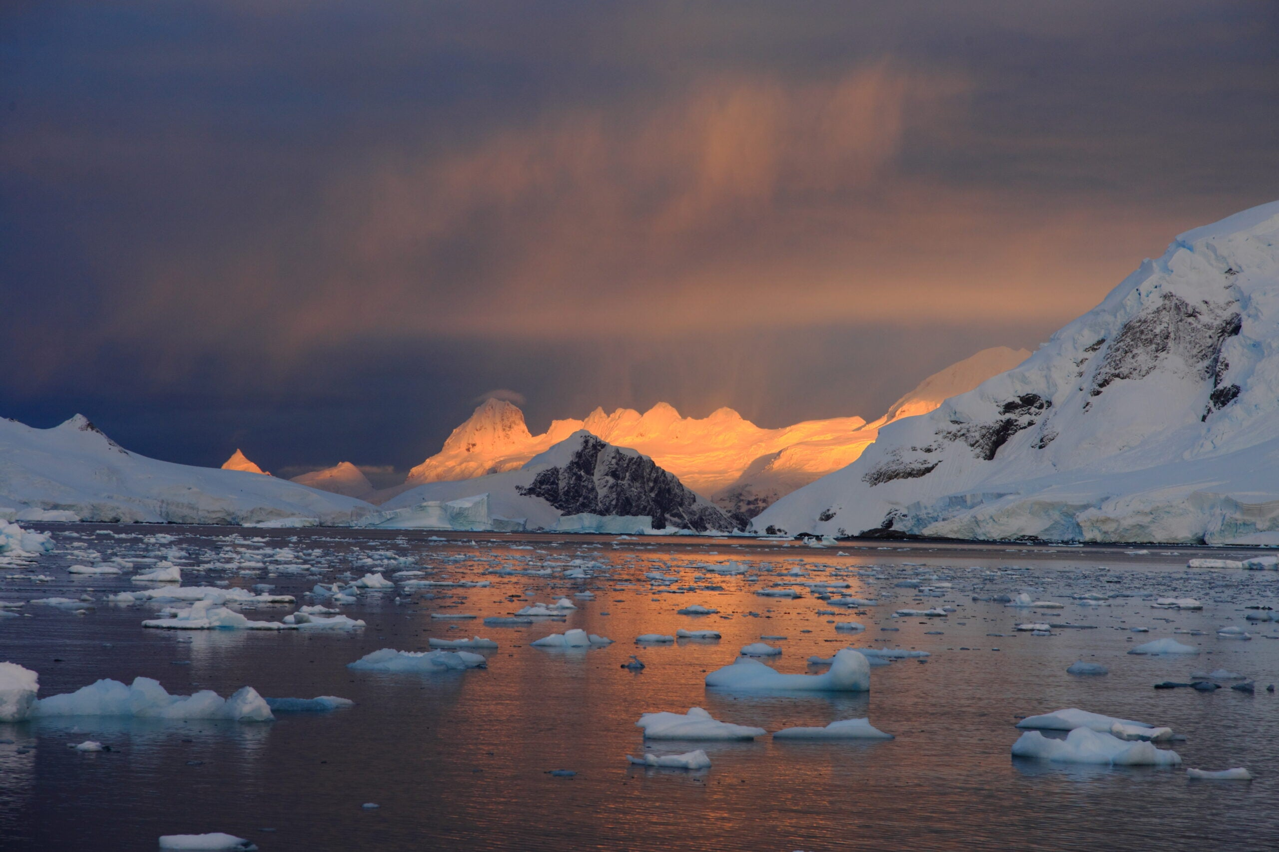 Sunrise and ice floe in Antarctica