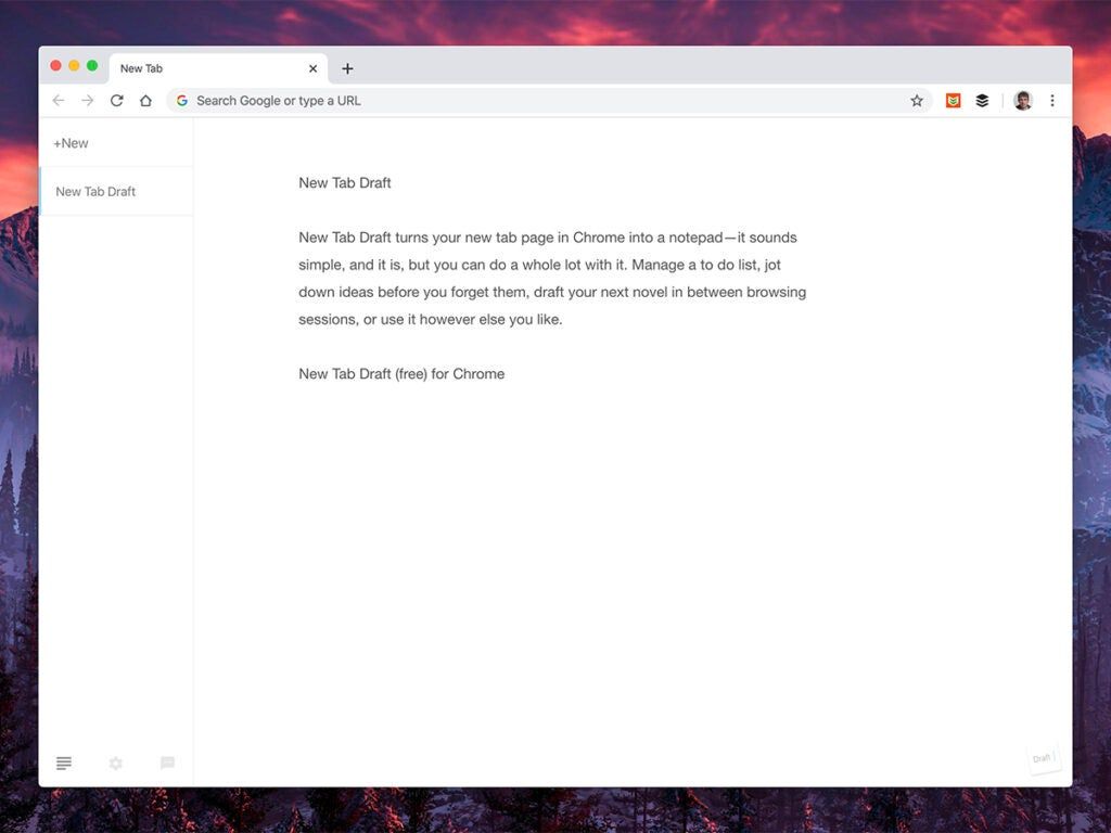 a screenshot of the new tab page browser extension New Tab Draft in Google Chrome