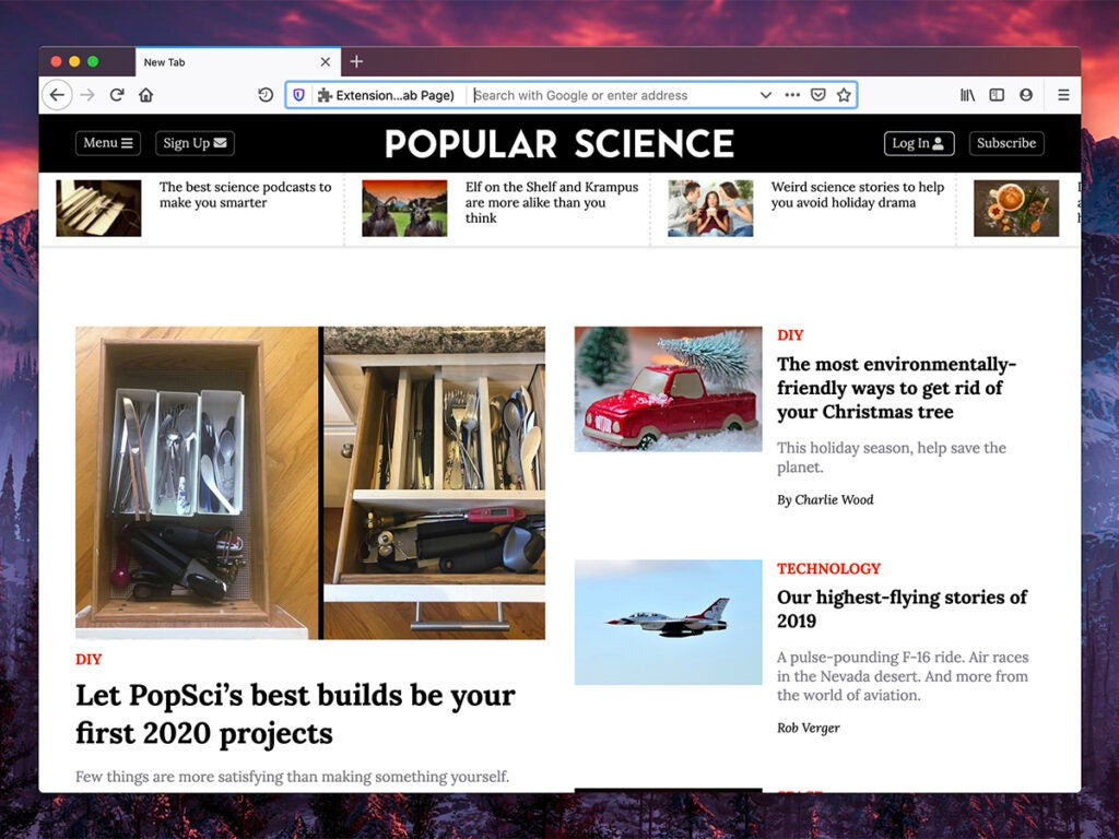 a screenshot of new tab page browser extension Custom New Tab Page with Popular Science as the default website, in Google Chrome