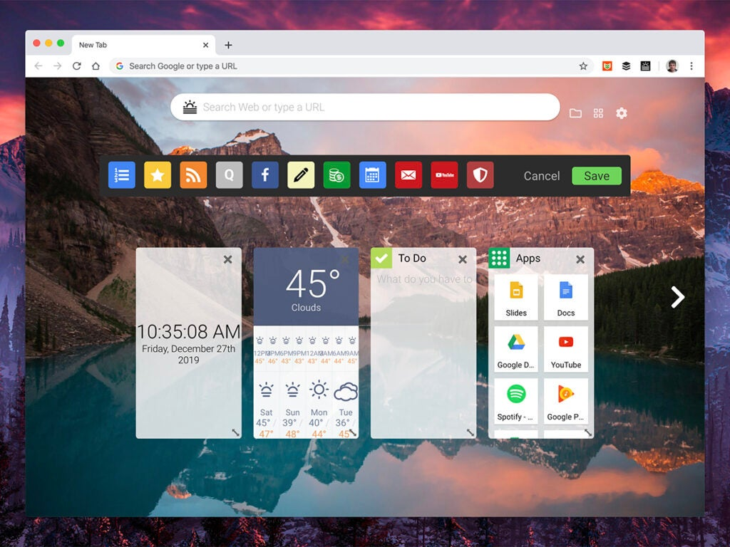 a screenshot of the Start new tab Chrome extension in Google Chrome