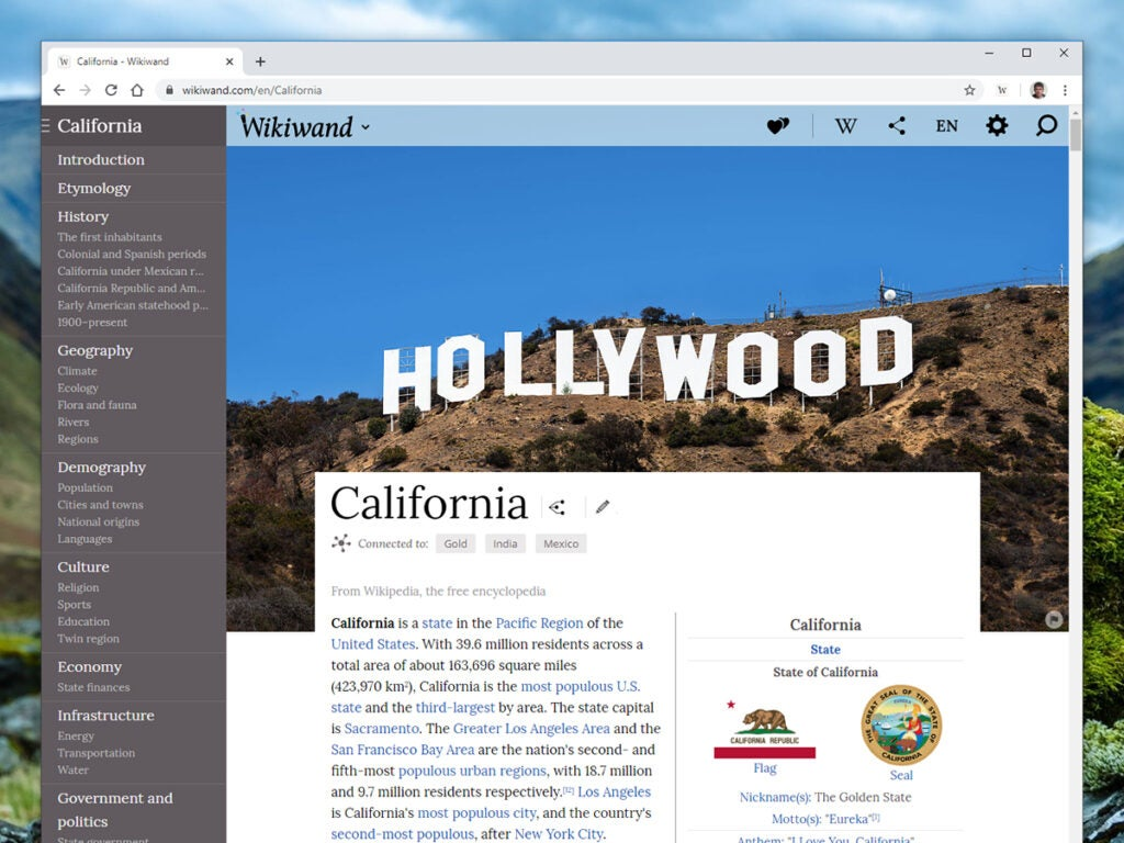 a screenshot of the browser extension Wikiwand, for Wikipedia