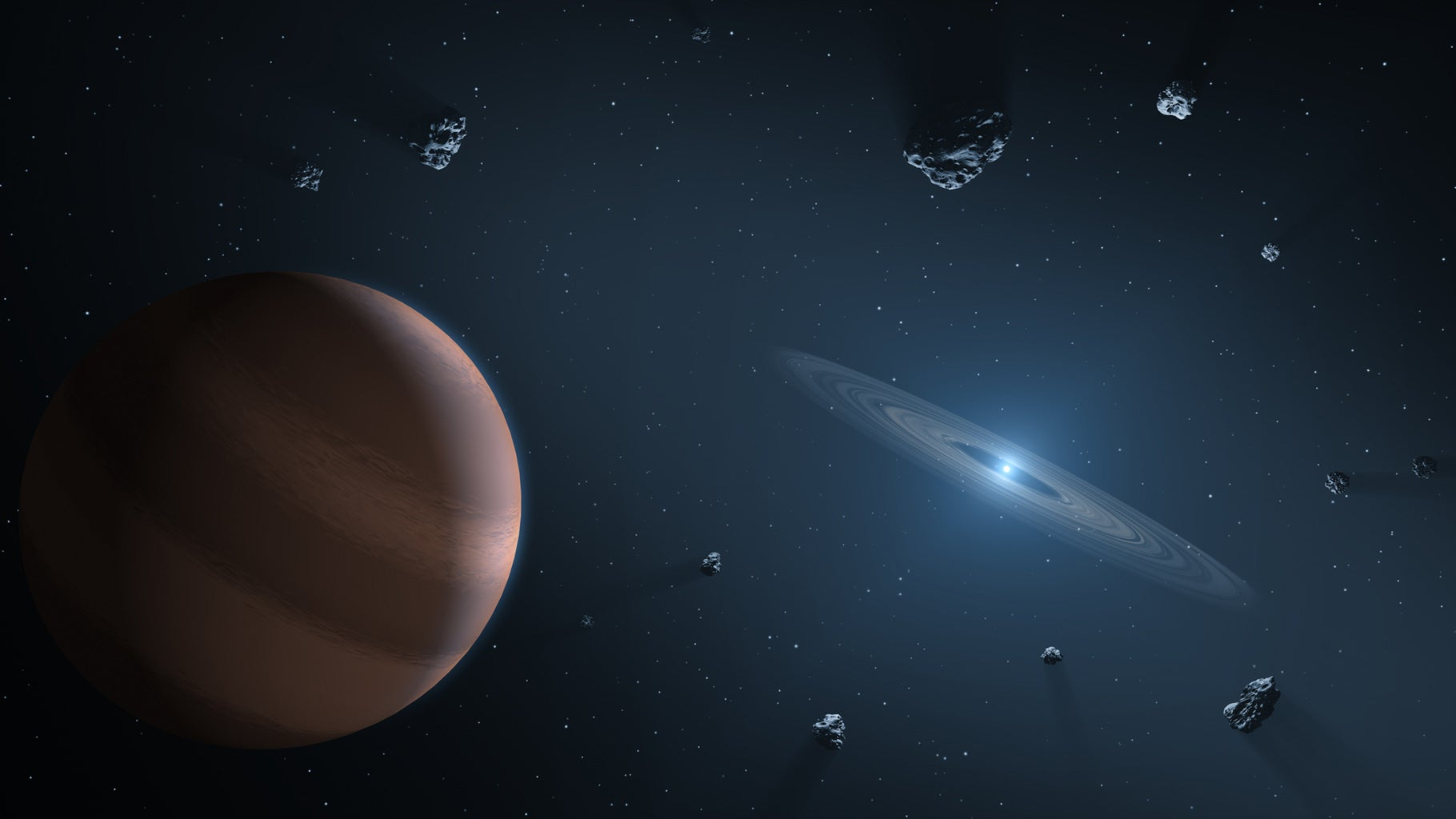 artists impression of a polluted white dwarf star