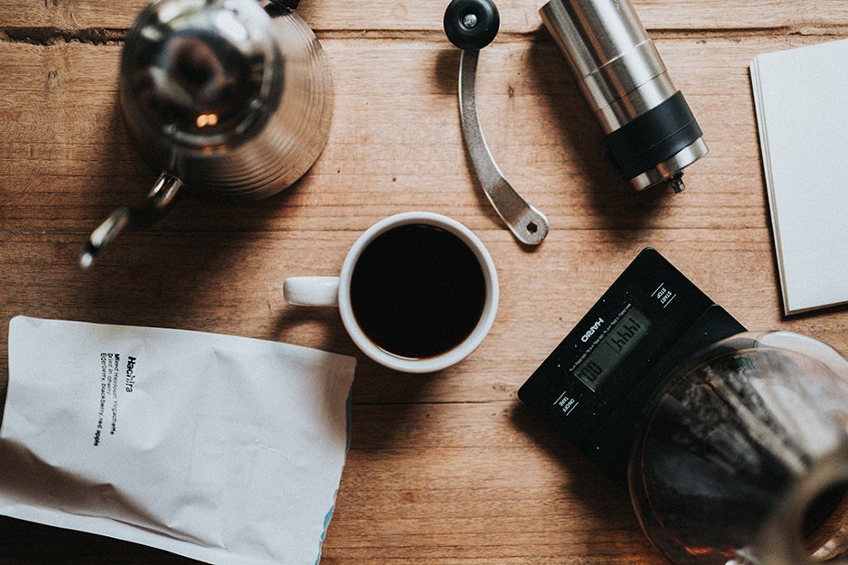 coffee and tools on a table