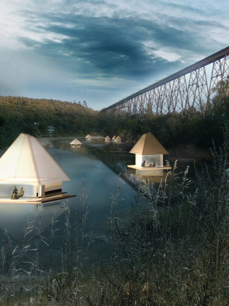 A rendering of floating campsites on the Pont Rouge River in Canada.