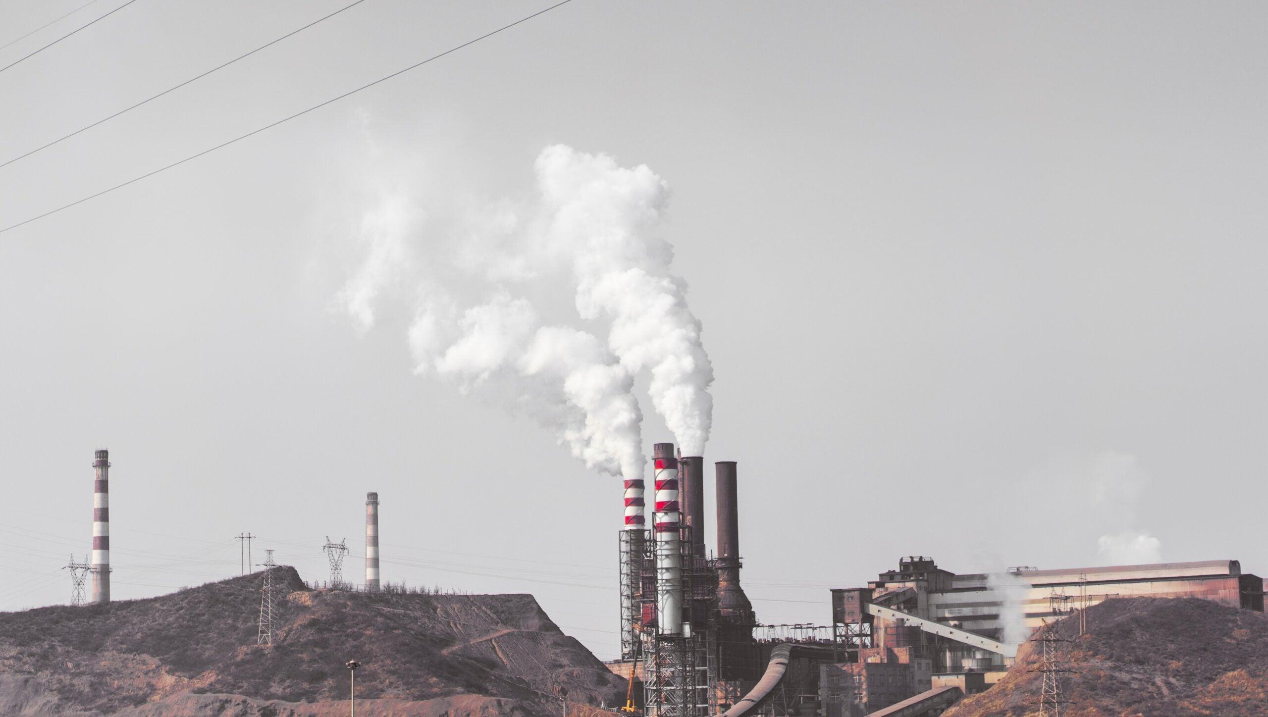 Smoke stack emitting pollution