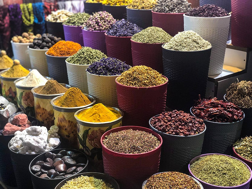 ground spices in bowls