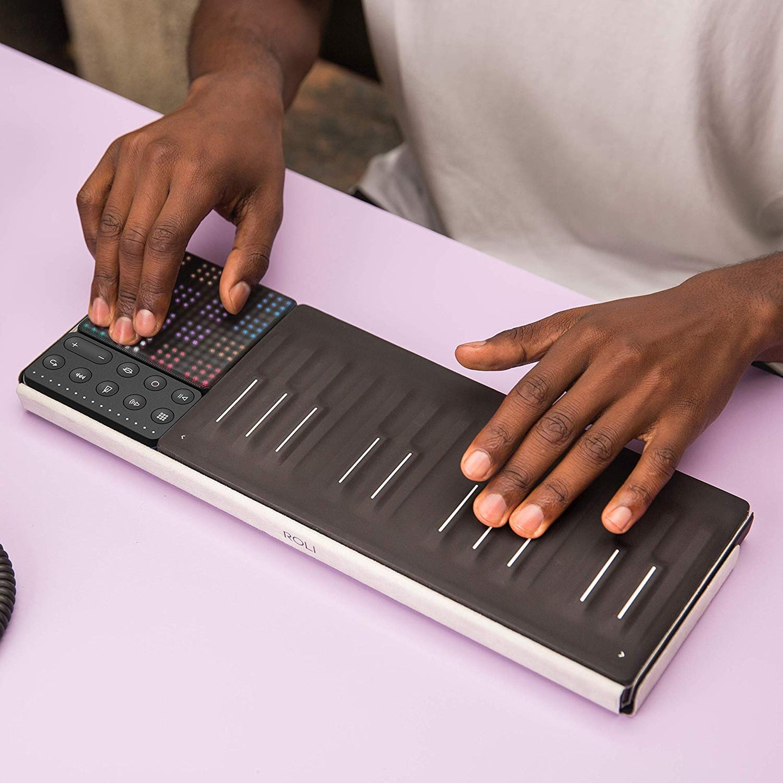 person playing a roli keyboard