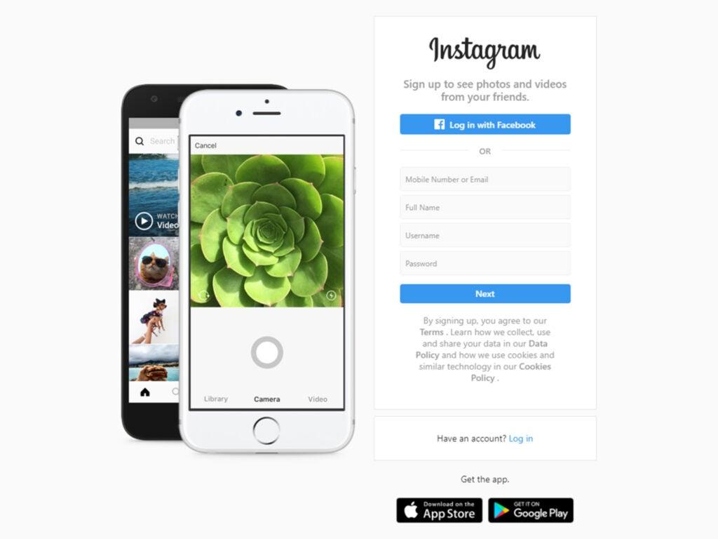 Screenshot of new Instagram account